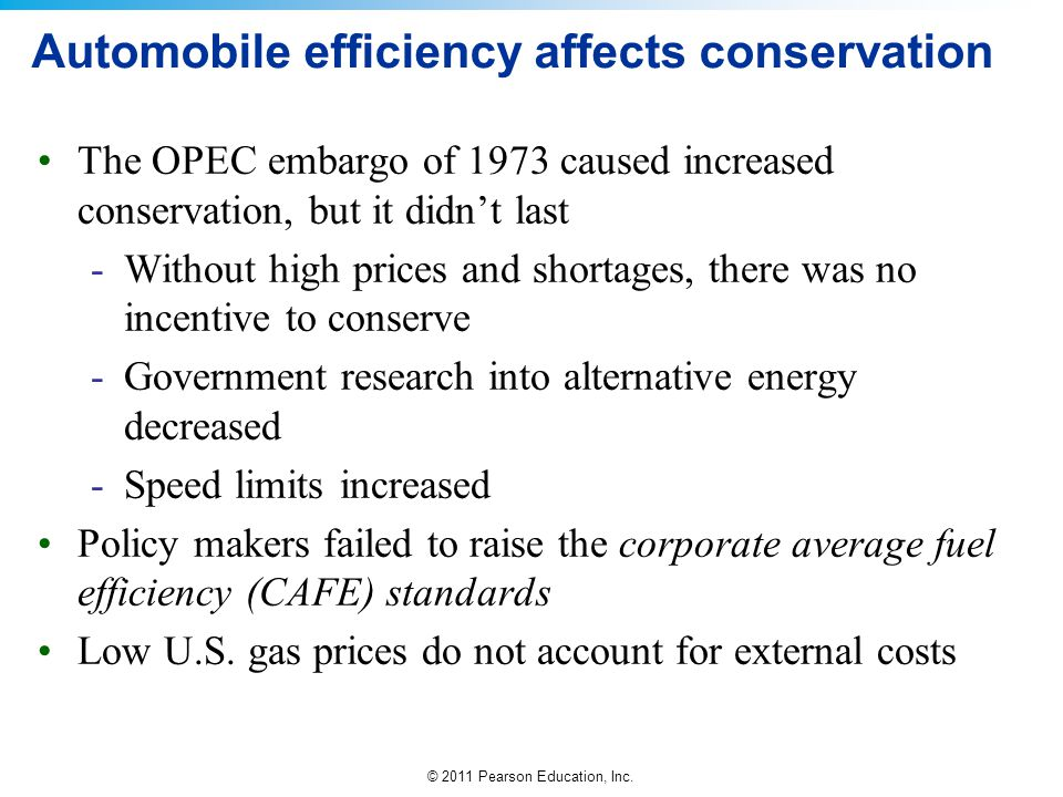 © 2011 Pearson Education, Inc. Automobile efficiency affects conservation The OPEC embargo of 1973 caused increased conservation, but it didnt last -W