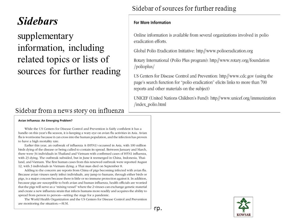 Azam RaufeeKowsar Corp. Sidebars supplementary information, including related topics or lists of sources for further reading Sidebar of sources for fu