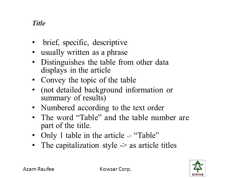 Azam RaufeeKowsar Corp. Title brief, specific, descriptive usually written as a phrase Distinguishes the table from other data displays in the article