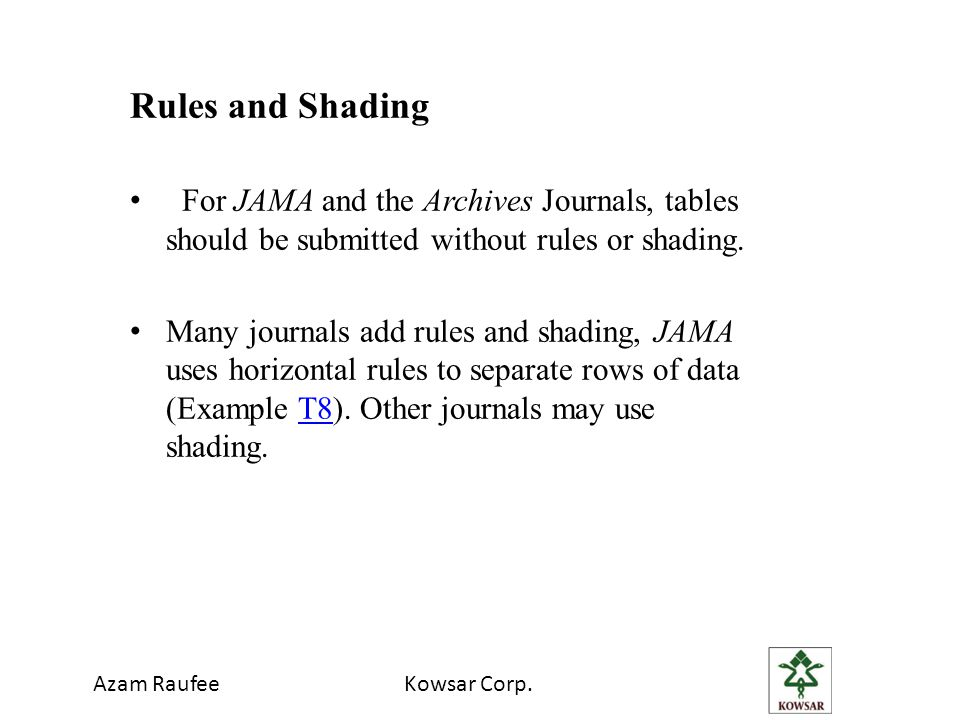 Azam RaufeeKowsar Corp. Rules and Shading For JAMA and the Archives Journals, tables should be submitted without rules or shading. Many journals add r