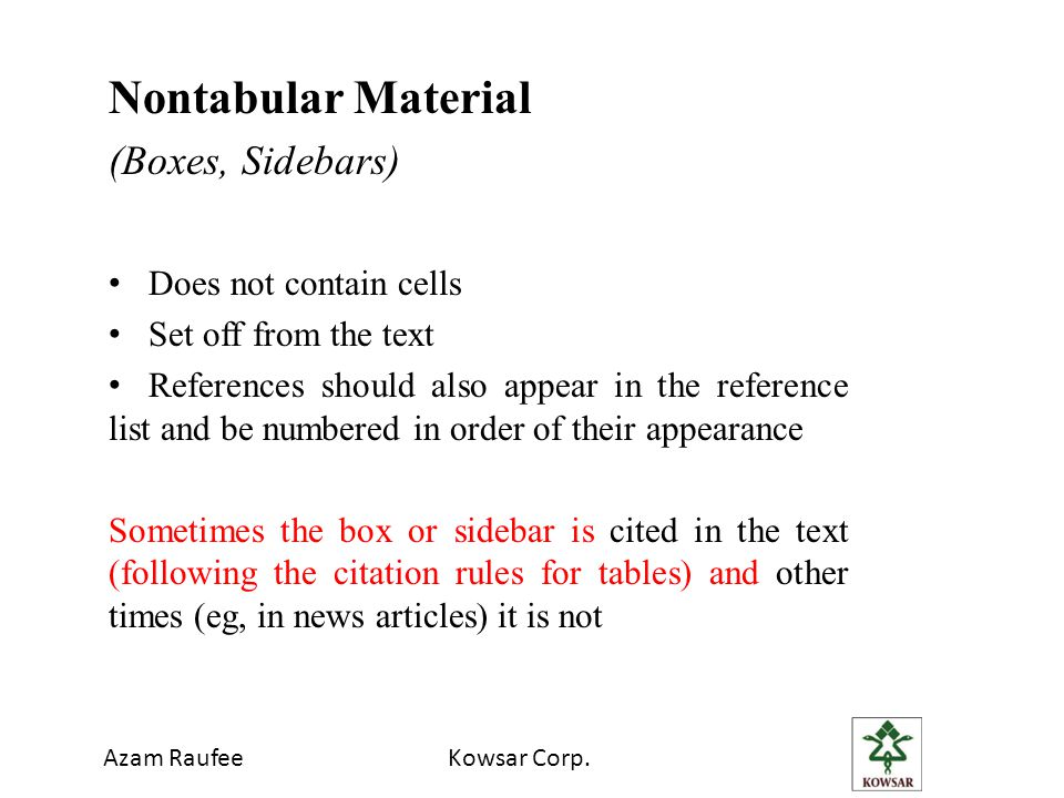 Azam RaufeeKowsar Corp. Nontabular Material (Boxes, Sidebars) Does not contain cells Set off from the text References should also appear in the refere