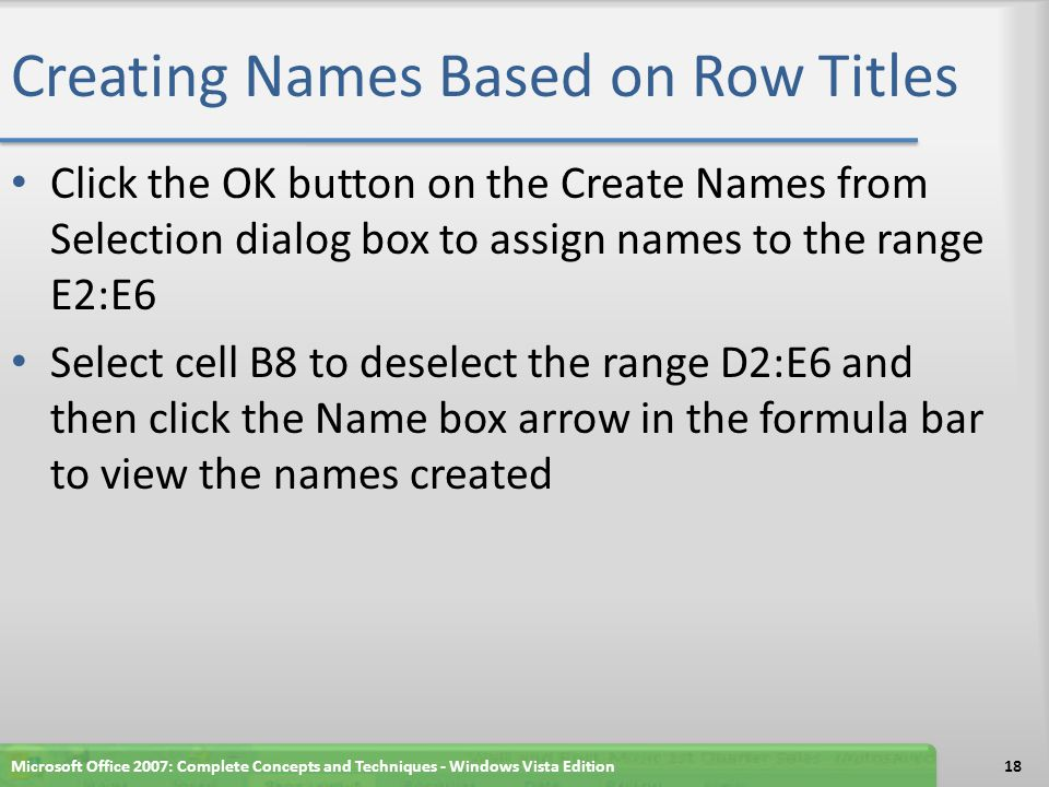 Creating Names Based on Row Titles Click the OK button on the Create Names from Selection dialog box to assign names to the range E2:E6 Select cell B8