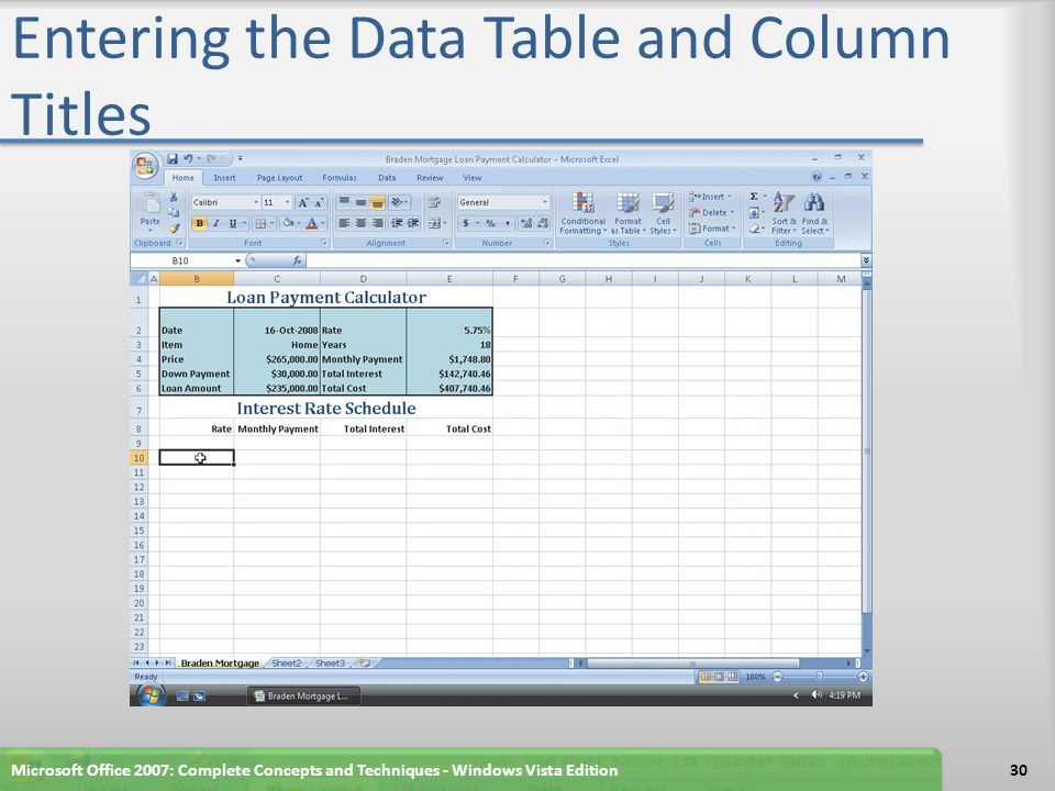 Entering the Data Table and Column Titles Microsoft Office 2007: Complete Concepts and Techniques - Windows Vista Edition30