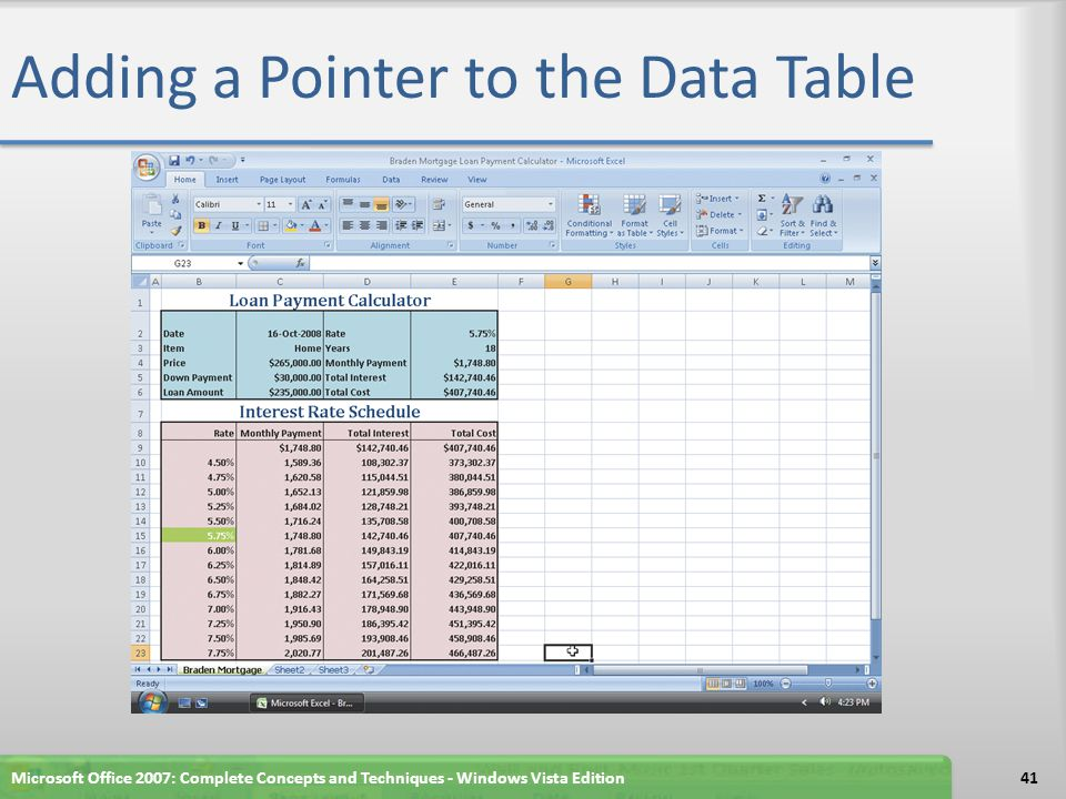 Adding a Pointer to the Data Table Microsoft Office 2007: Complete Concepts and Techniques - Windows Vista Edition41