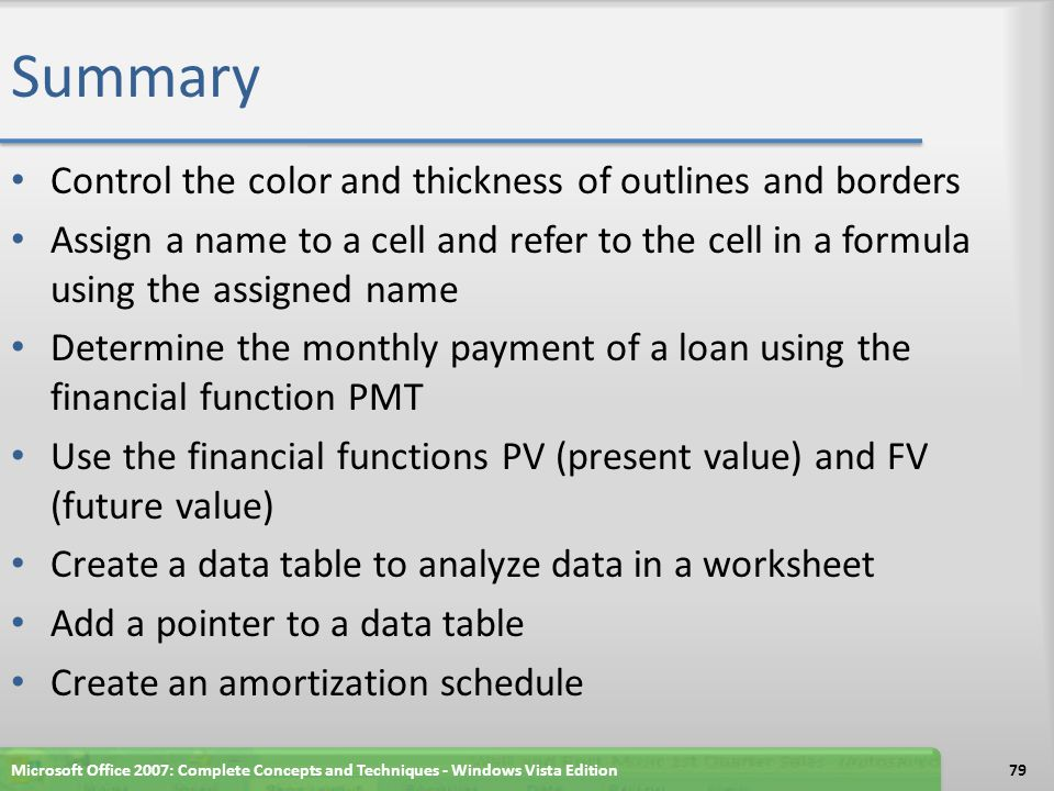 Summary Control the color and thickness of outlines and borders Assign a name to a cell and refer to the cell in a formula using the assigned name Det