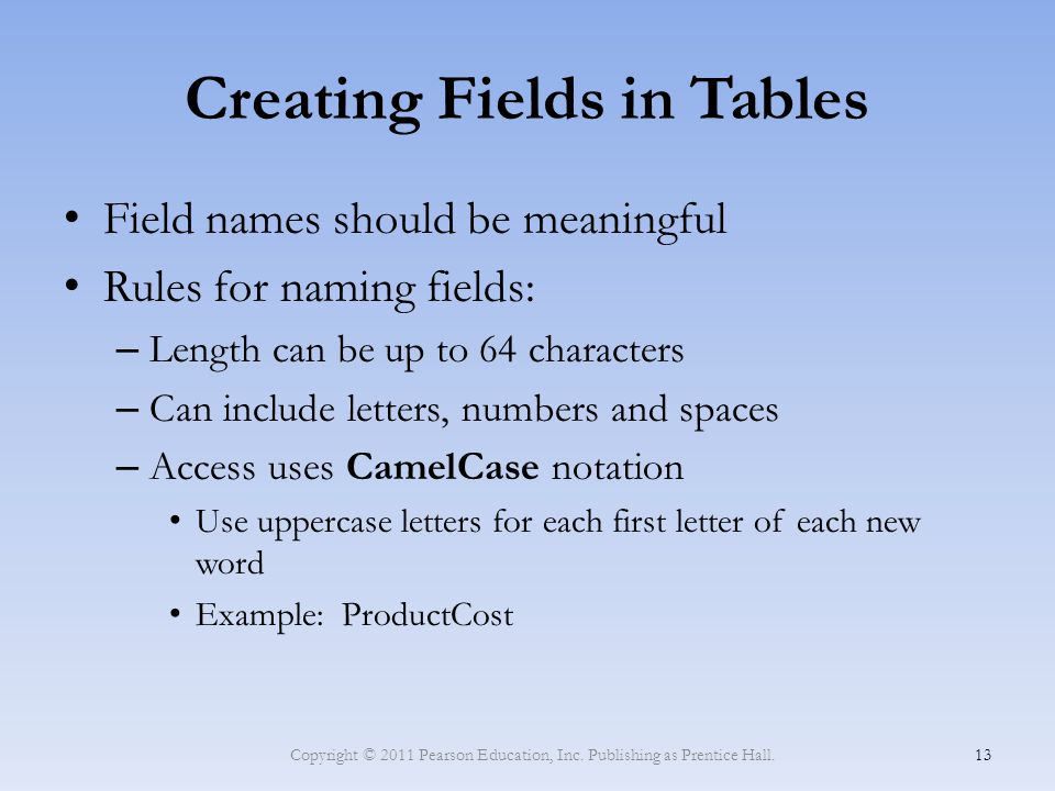 Creating Fields in Tables Field names should be meaningful Rules for naming fields: – Length can be up to 64 characters – Can include letters, numbers