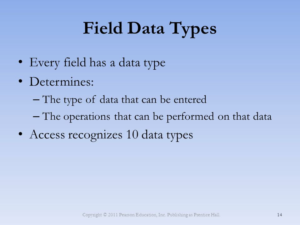 Field Data Types Every field has a data type Determines: – The type of data that can be entered – The operations that can be performed on that data Ac