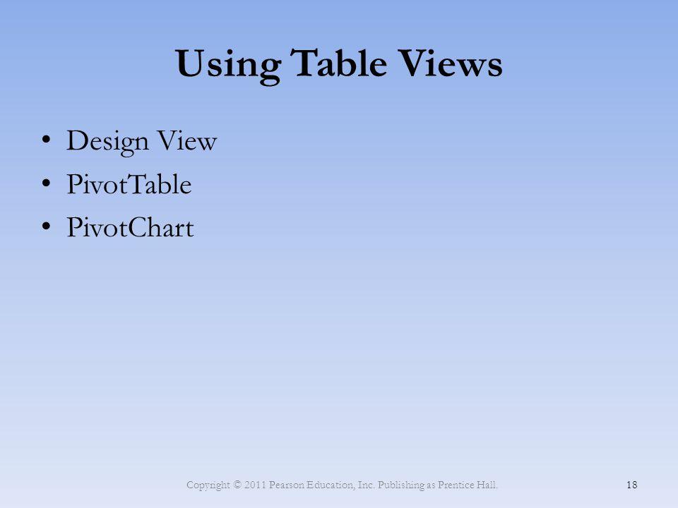 Using Table Views Design View PivotTable PivotChart Copyright © 2011 Pearson Education, Inc. Publishing as Prentice Hall. 18