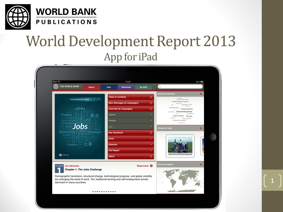 World Development Report 2013 App for iPad 1