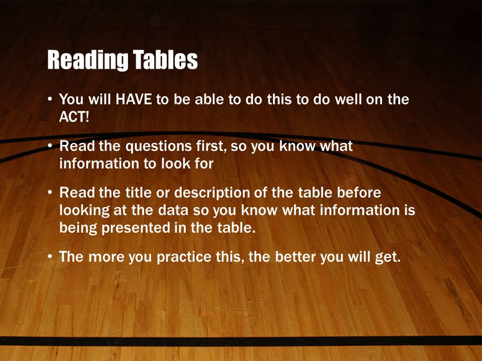 Reading Tables You will HAVE to be able to do this to do well on the ACT.