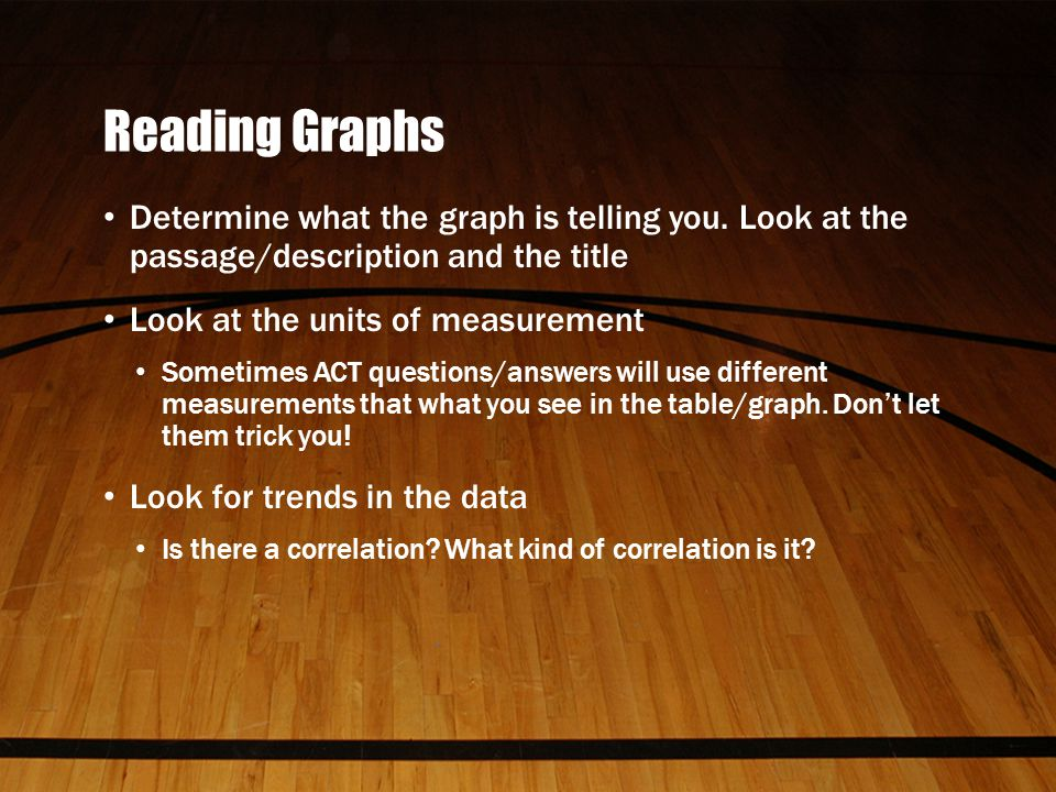 Reading Graphs Determine what the graph is telling you.
