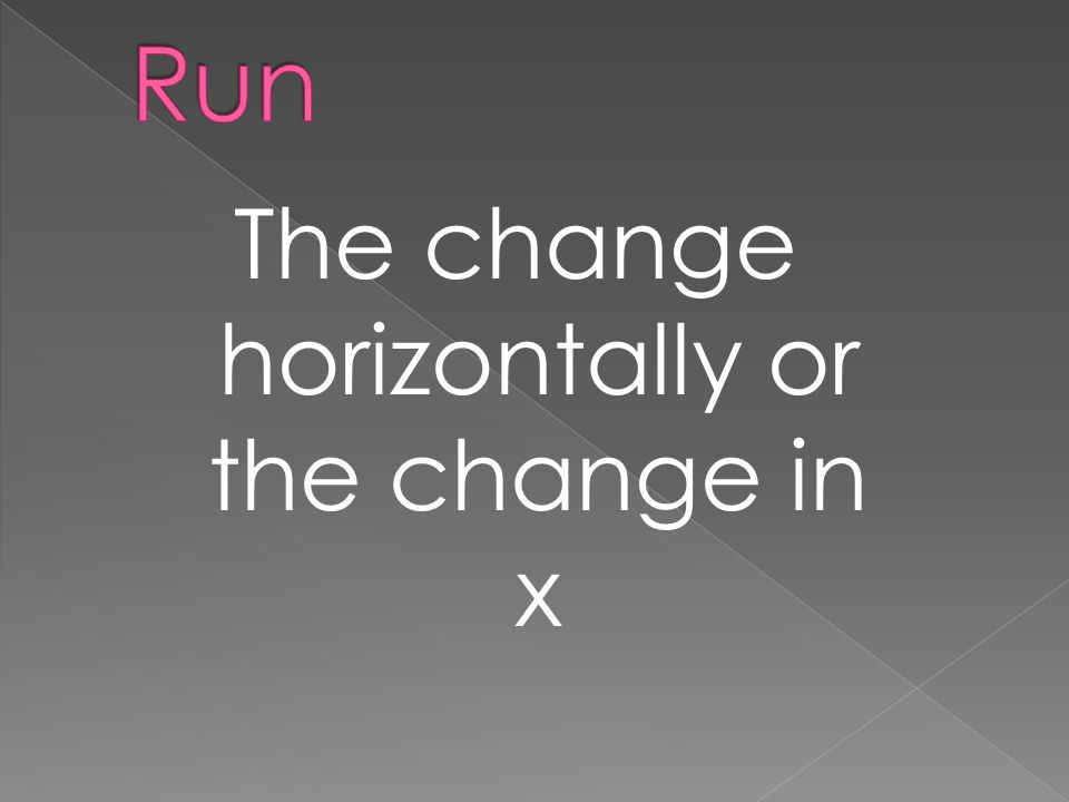 The change horizontally or the change in x