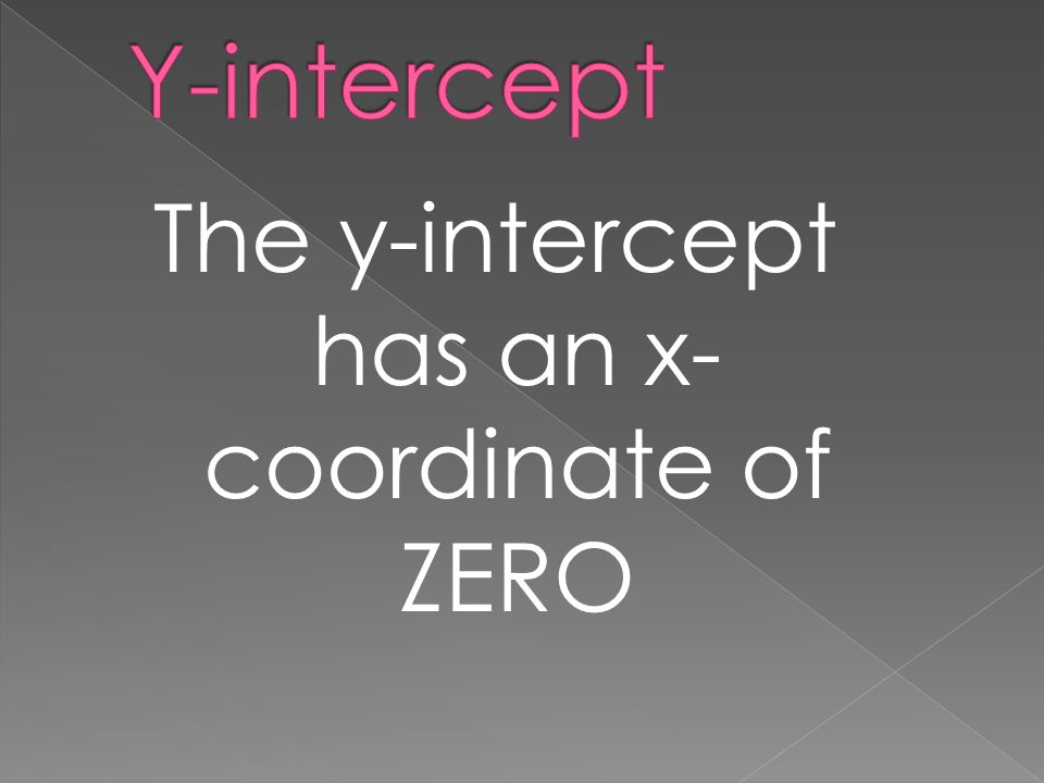 The y-intercept has an x- coordinate of ZERO