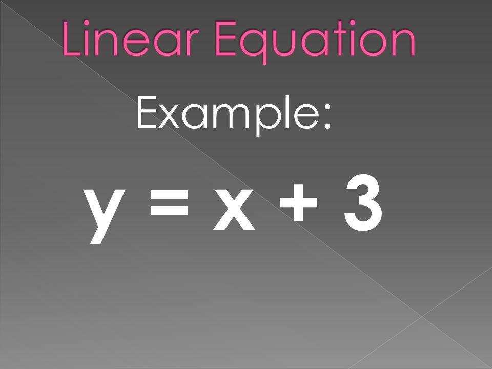 Example: y = x + 3