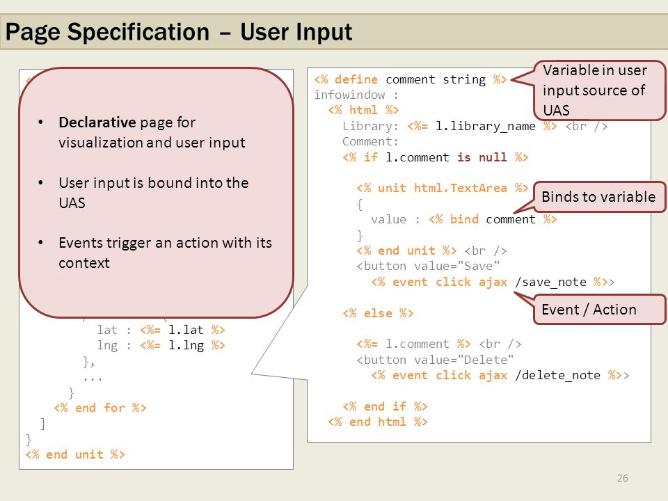 26 Page Specification – User Input <% with libraries as select * from db.libraries left join session.notes on...