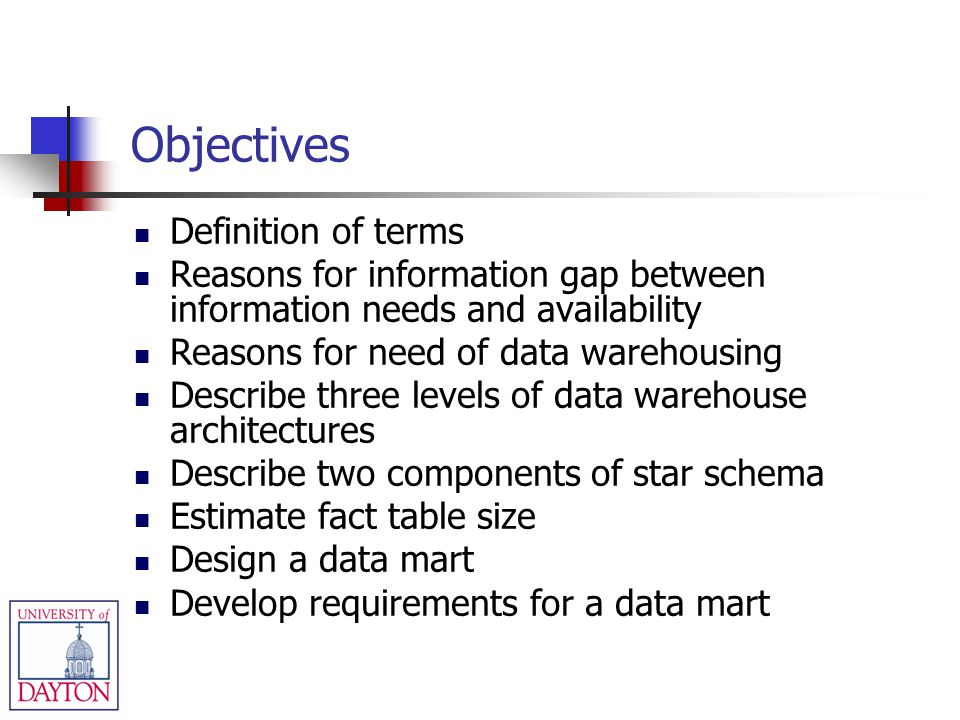 Objectives Definition of terms Reasons for information gap between information needs and availability Reasons for need of data warehousing Describe th