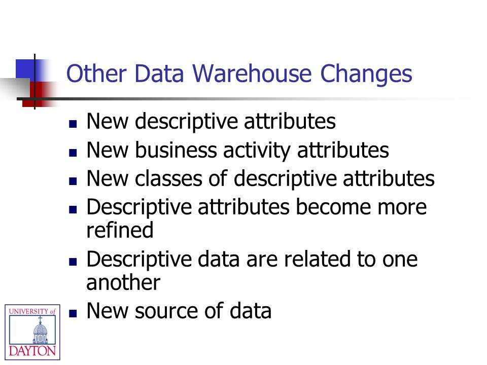 Other Data Warehouse Changes New descriptive attributes New business activity attributes New classes of descriptive attributes Descriptive attributes