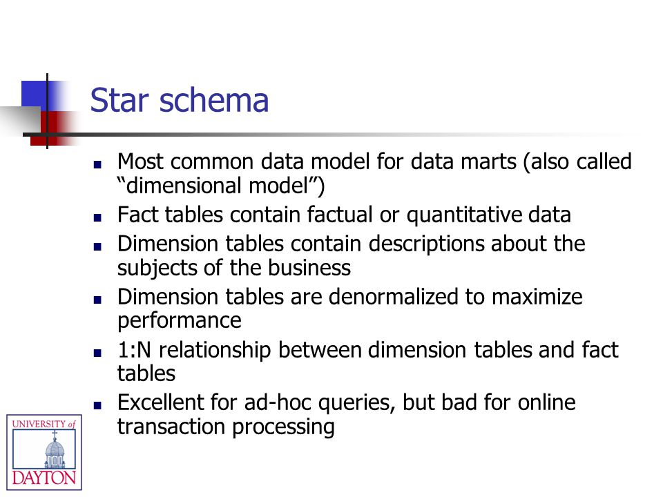 Star schema Most common data model for data marts (also called dimensional model) Fact tables contain factual or quantitative data Dimension tables co