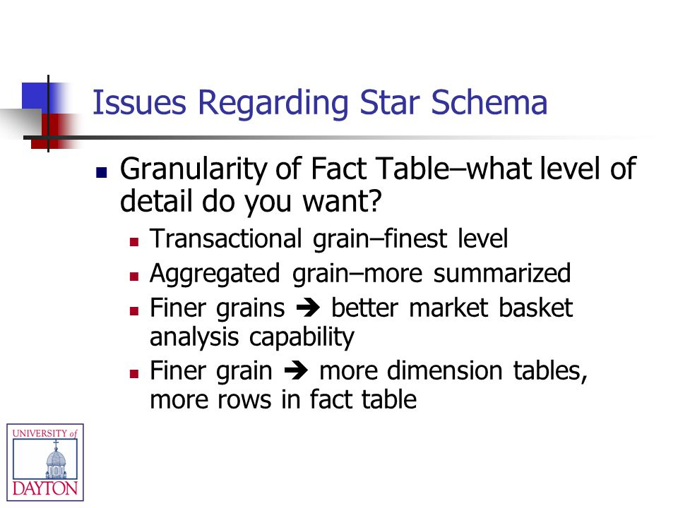 Issues Regarding Star Schema Granularity of Fact Table–what level of detail do you want? Transactional grain–finest level Aggregated grain–more summar