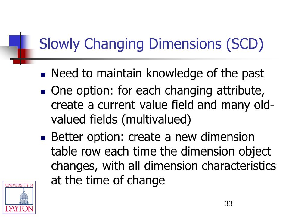 Slowly Changing Dimensions (SCD) Need to maintain knowledge of the past One option: for each changing attribute, create a current value field and many