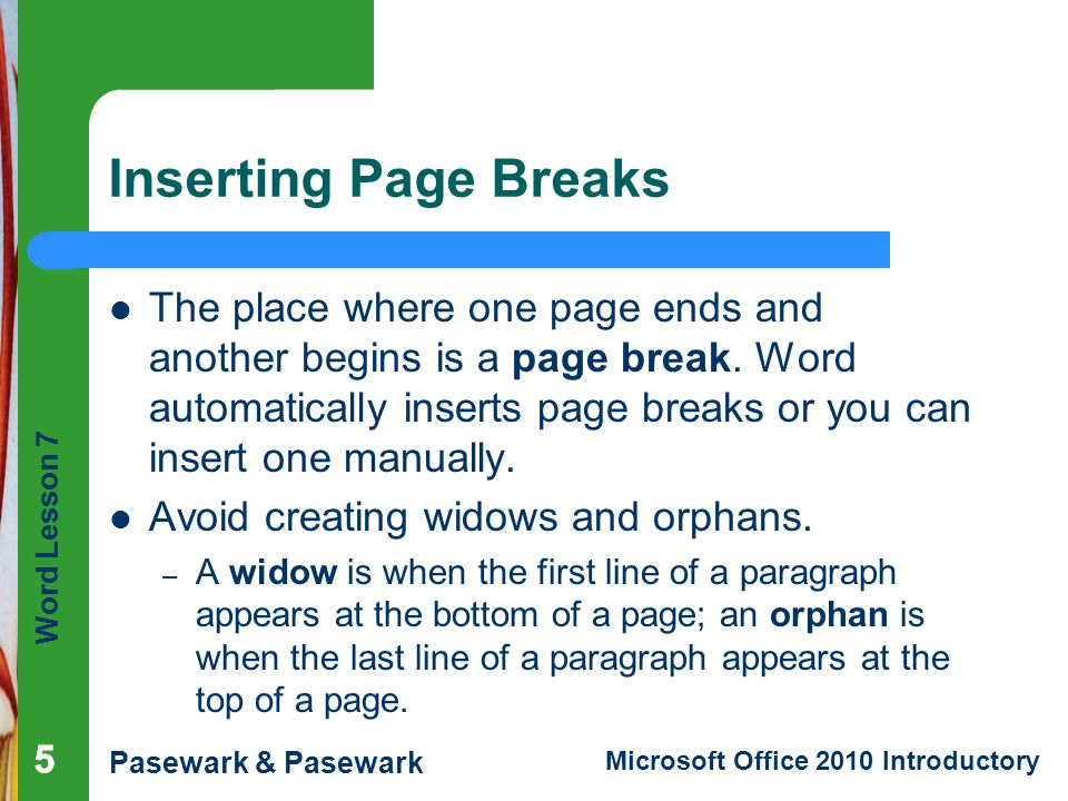 Word Lesson 7 Pasewark & Pasewark Microsoft Office 2010 Introductory Using the Research Tool (continued) Research task pane open with results from Bing search engine 16