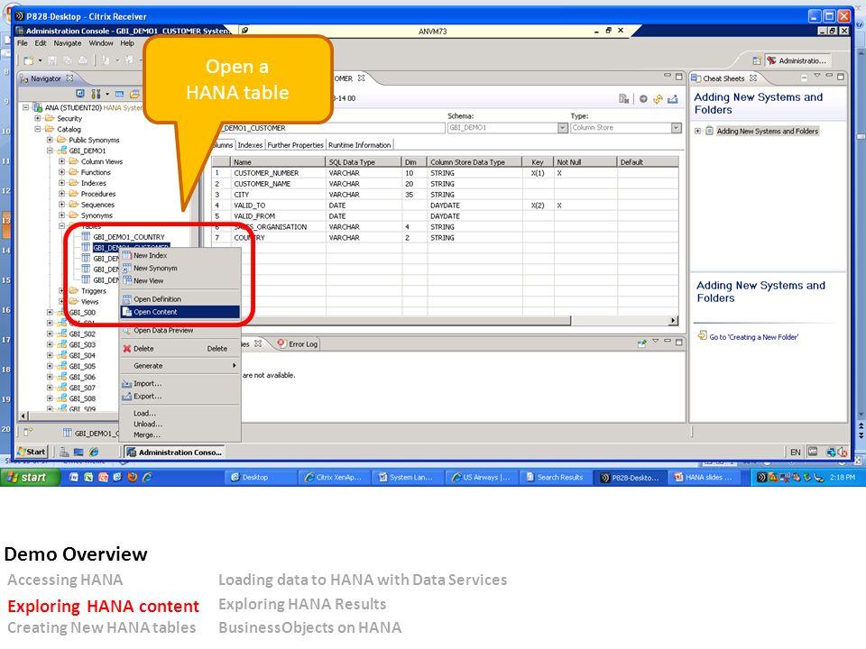 Open a HANA table Accessing HANALoading data to HANA with Data Services Exploring HANA content Exploring HANA Results Creating New HANA tablesBusinessObjects on HANA Demo Overview