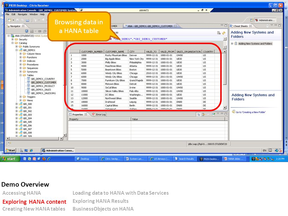 Browsing data in a HANA table Accessing HANALoading data to HANA with Data Services Exploring HANA content Exploring HANA Results Creating New HANA tablesBusinessObjects on HANA Demo Overview