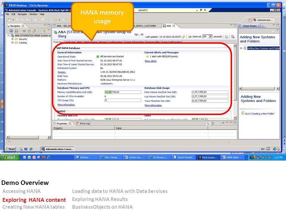 HANA memory usage Accessing HANALoading data to HANA with Data Services Exploring HANA content Exploring HANA Results Creating New HANA tablesBusinessObjects on HANA Demo Overview