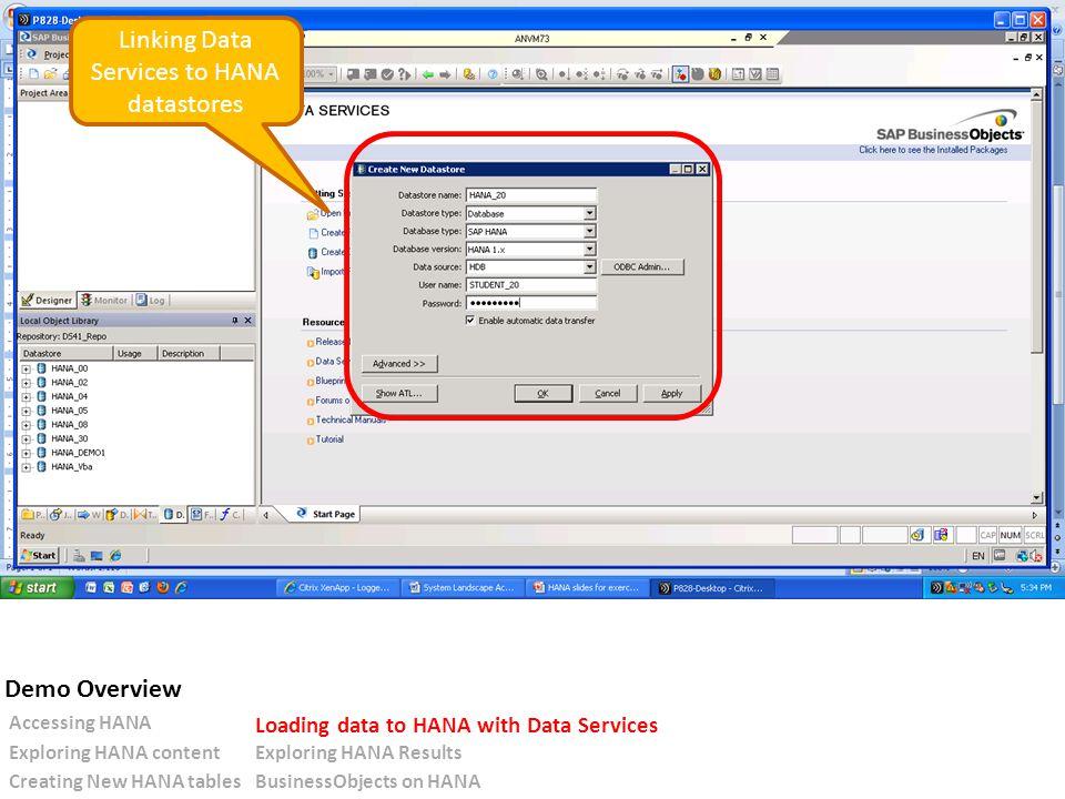 Linking Data Services to HANA datastores Accessing HANA Loading data to HANA with Data Services Exploring HANA contentExploring HANA Results Creating New HANA tablesBusinessObjects on HANA Demo Overview