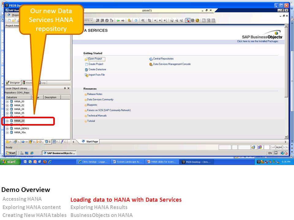 Our new Data Services HANA repository Accessing HANA Loading data to HANA with Data Services Exploring HANA contentExploring HANA Results Creating New HANA tablesBusinessObjects on HANA Demo Overview