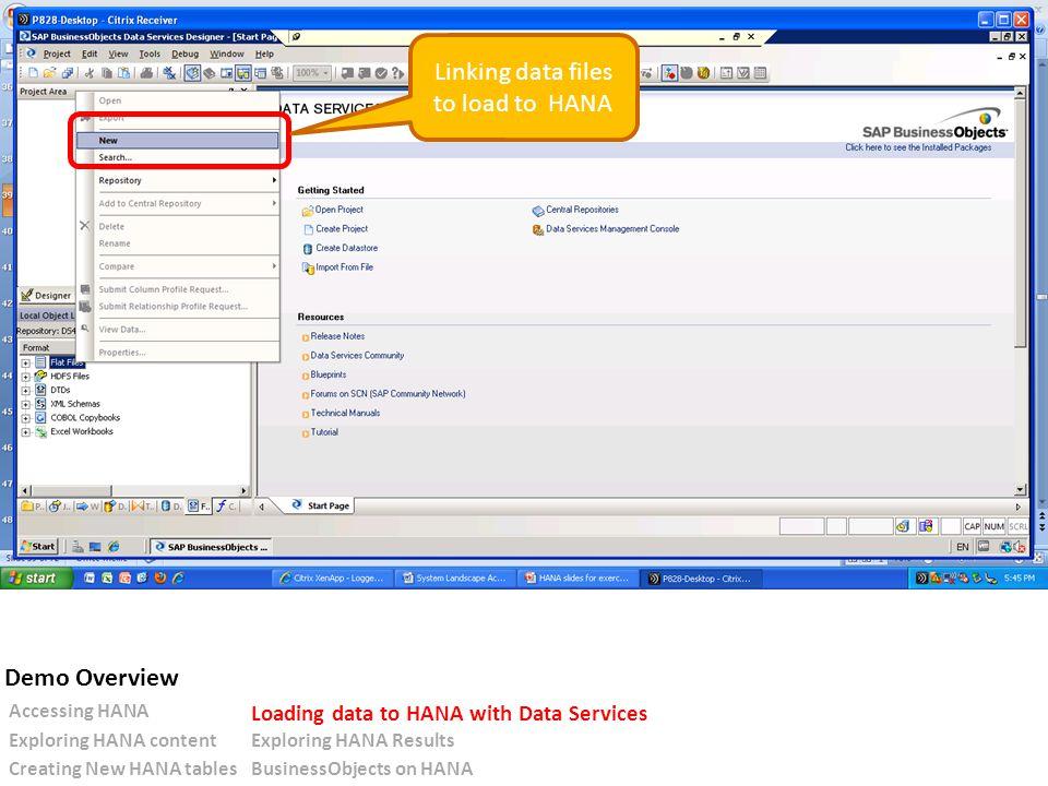 Linking data files to load to HANA Accessing HANA Loading data to HANA with Data Services Exploring HANA contentExploring HANA Results Creating New HANA tablesBusinessObjects on HANA Demo Overview
