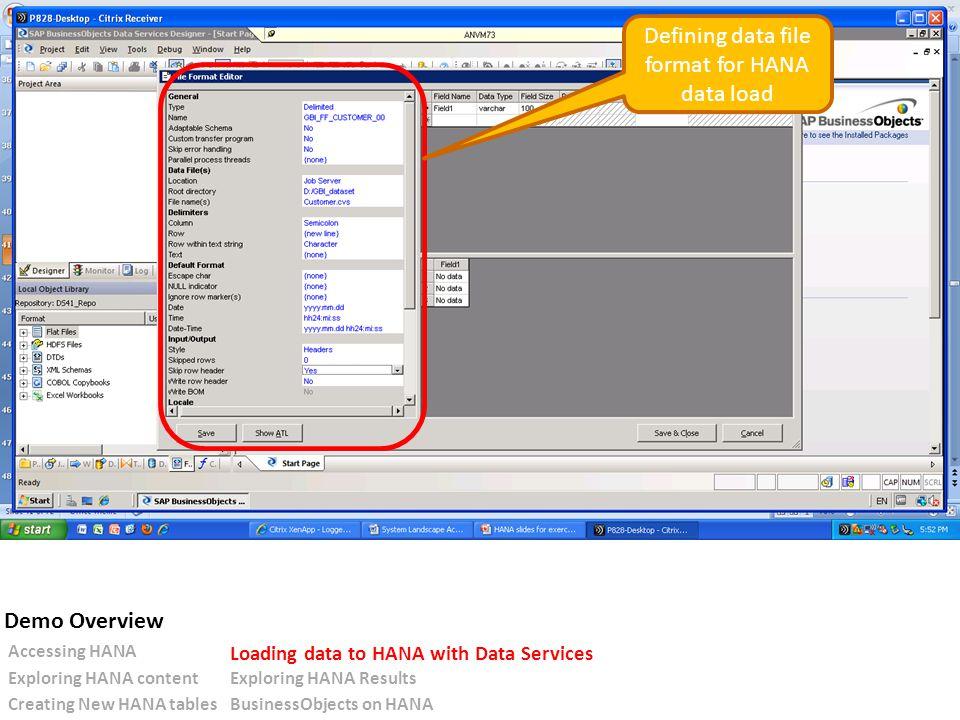 Defining data file format for HANA data load Accessing HANA Loading data to HANA with Data Services Exploring HANA contentExploring HANA Results Creating New HANA tablesBusinessObjects on HANA Demo Overview