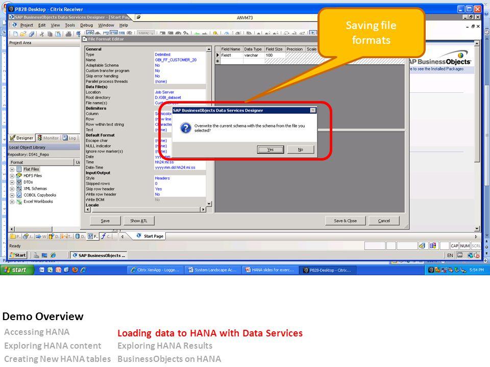Saving file formats Accessing HANA Loading data to HANA with Data Services Exploring HANA contentExploring HANA Results Creating New HANA tablesBusinessObjects on HANA Demo Overview
