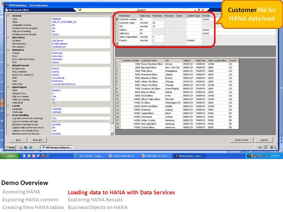 Customer file for HANA data load Accessing HANA Loading data to HANA with Data Services Exploring HANA contentExploring HANA Results Creating New HANA tablesBusinessObjects on HANA Demo Overview