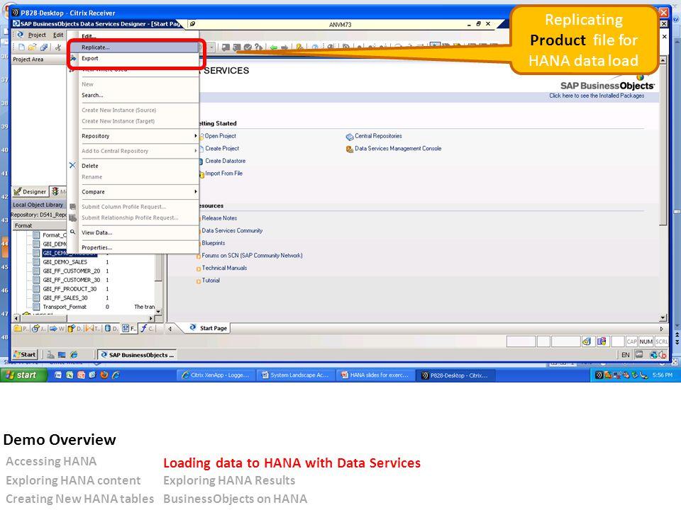 Replicating Product file for HANA data load Accessing HANA Loading data to HANA with Data Services Exploring HANA contentExploring HANA Results Creating New HANA tablesBusinessObjects on HANA Demo Overview