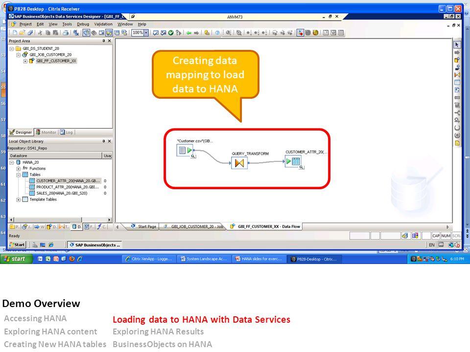 Creating data mapping to load data to HANA Accessing HANA Loading data to HANA with Data Services Exploring HANA contentExploring HANA Results Creating New HANA tablesBusinessObjects on HANA Demo Overview