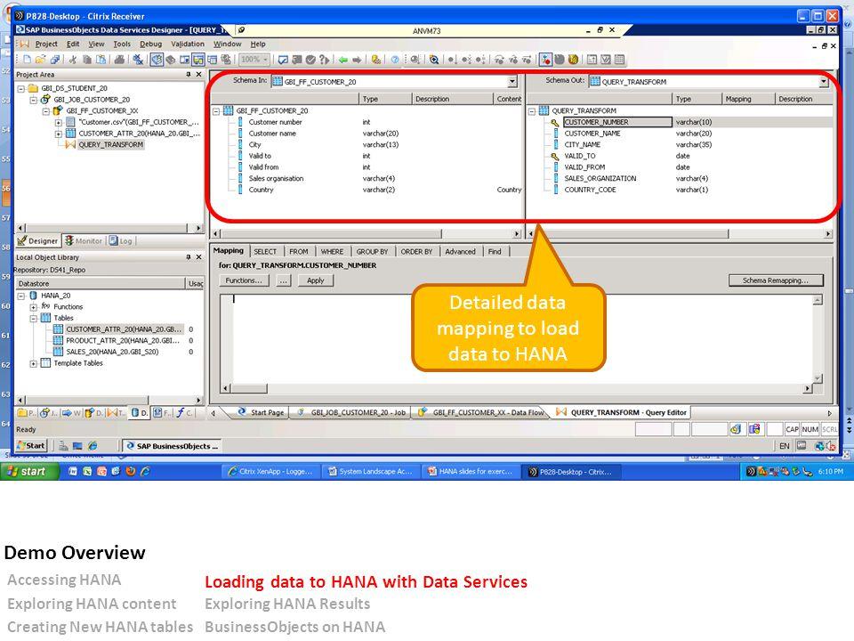 Detailed data mapping to load data to HANA Accessing HANA Loading data to HANA with Data Services Exploring HANA contentExploring HANA Results Creating New HANA tablesBusinessObjects on HANA Demo Overview
