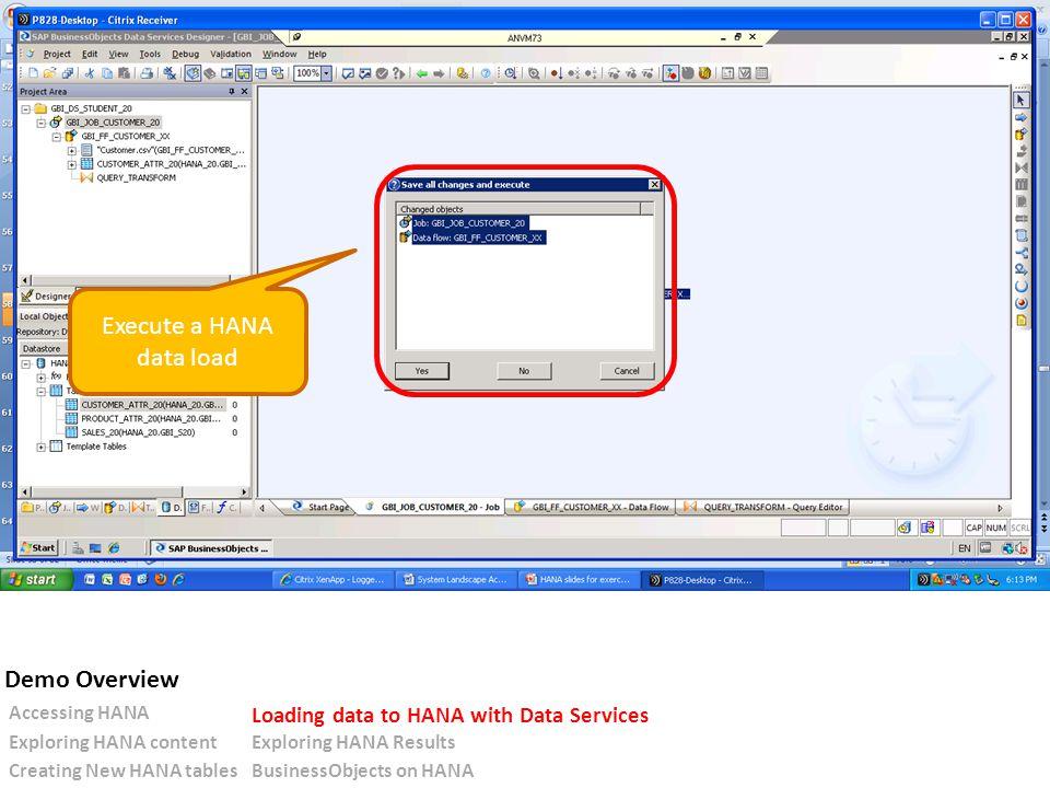 Execute a HANA data load Accessing HANA Loading data to HANA with Data Services Exploring HANA contentExploring HANA Results Creating New HANA tablesBusinessObjects on HANA Demo Overview