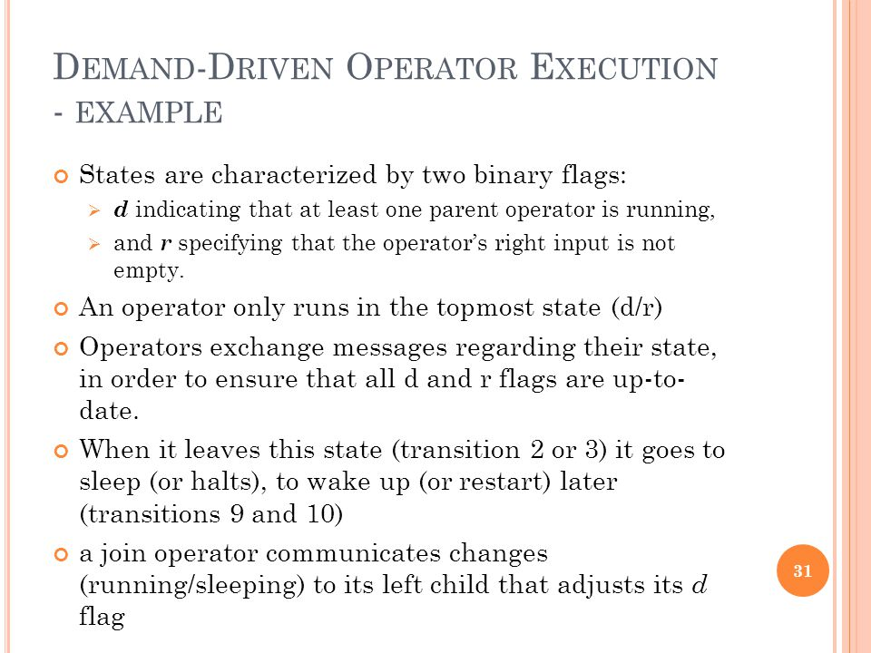 D EMAND -D RIVEN O PERATOR E XECUTION - EXAMPLE States are characterized by two binary flags: d indicating that at least one parent operator is runnin