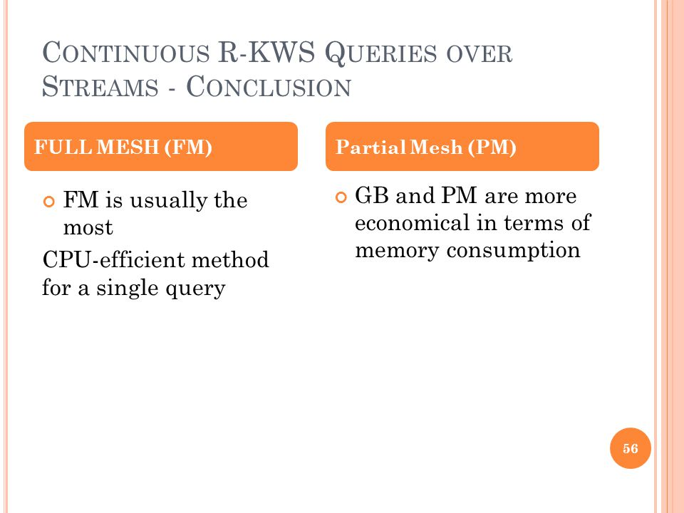C ONTINUOUS R-KWS Q UERIES OVER S TREAMS - C ONCLUSION 56 FM is usually the most CPU-efficient method for a single query GB and PM are more economical
