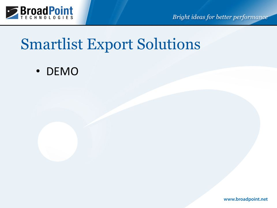 Smartlist Export Solutions DEMO