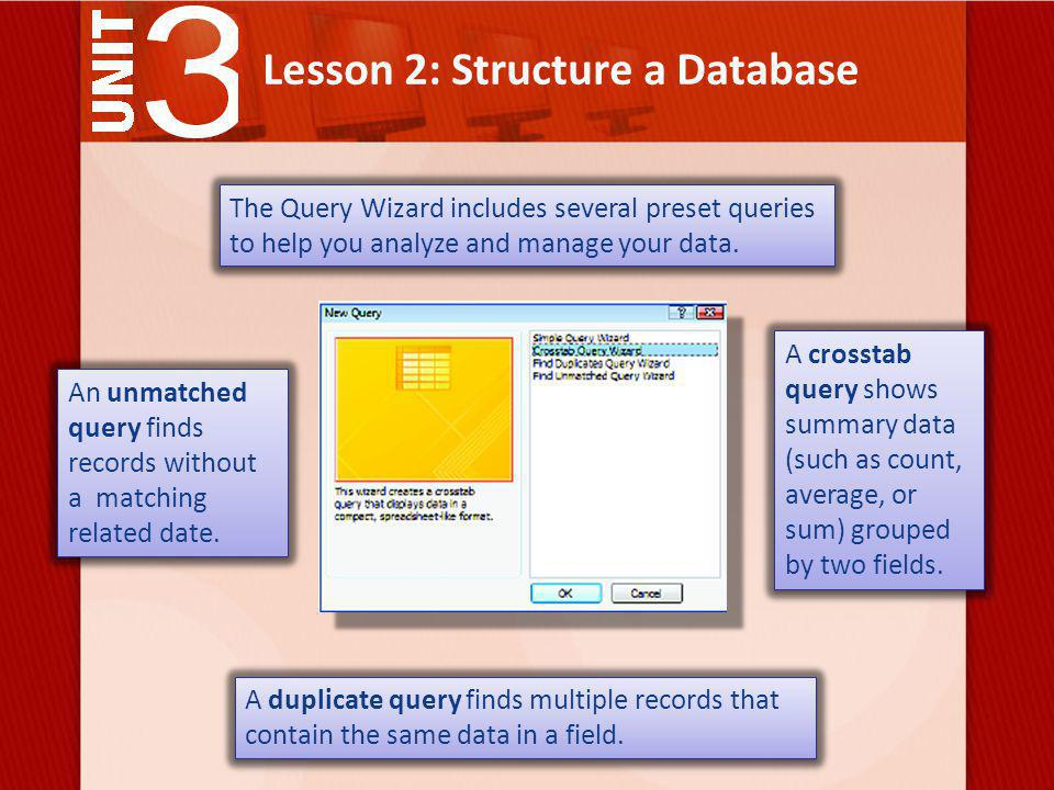 Lesson 2: Structure a Database The Query Wizard includes several preset queries to help you analyze and manage your data.