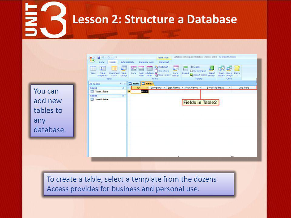 Lesson 2: Structure a Database Use an input mask to specify how information will be formatted.