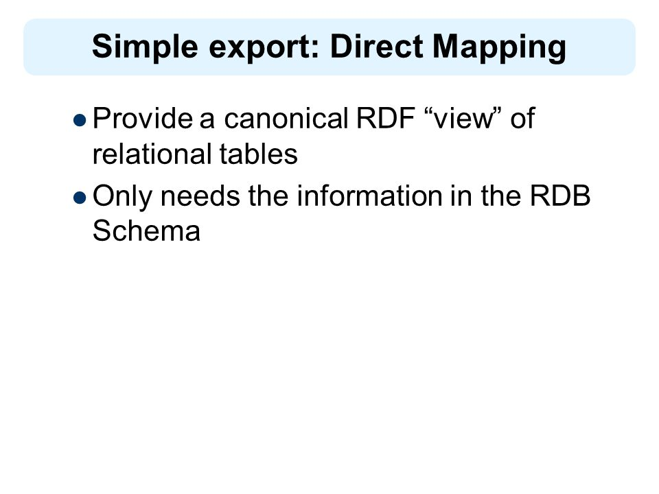 Provide a canonical RDF view of relational tables Only needs the information in the RDB Schema Simple export: Direct Mapping