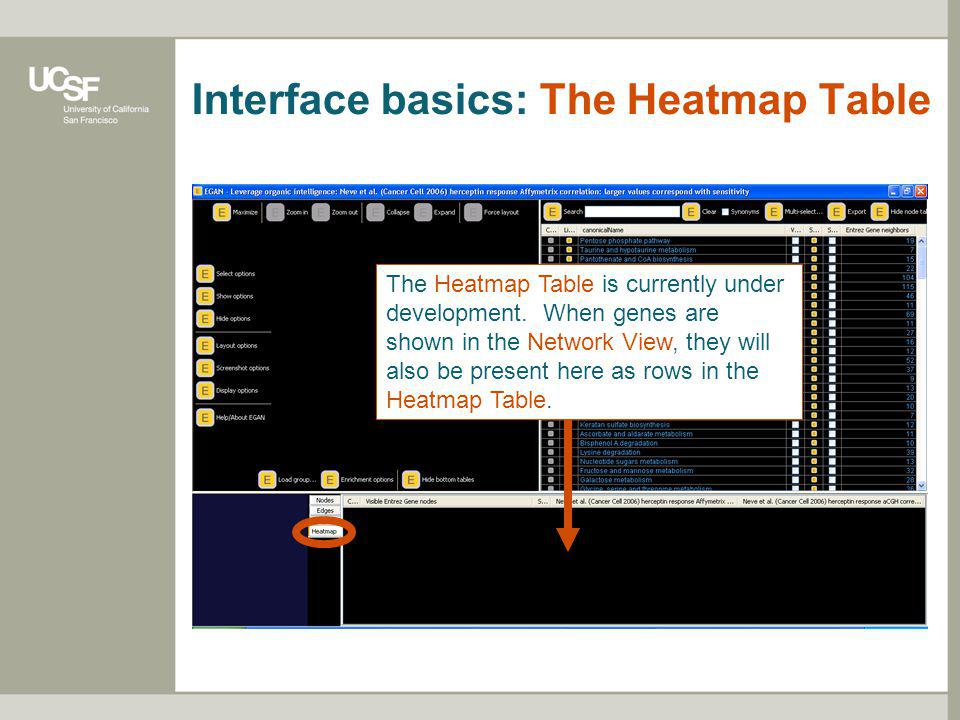 Interface basics: The Heatmap Table The Heatmap Table is currently under development.