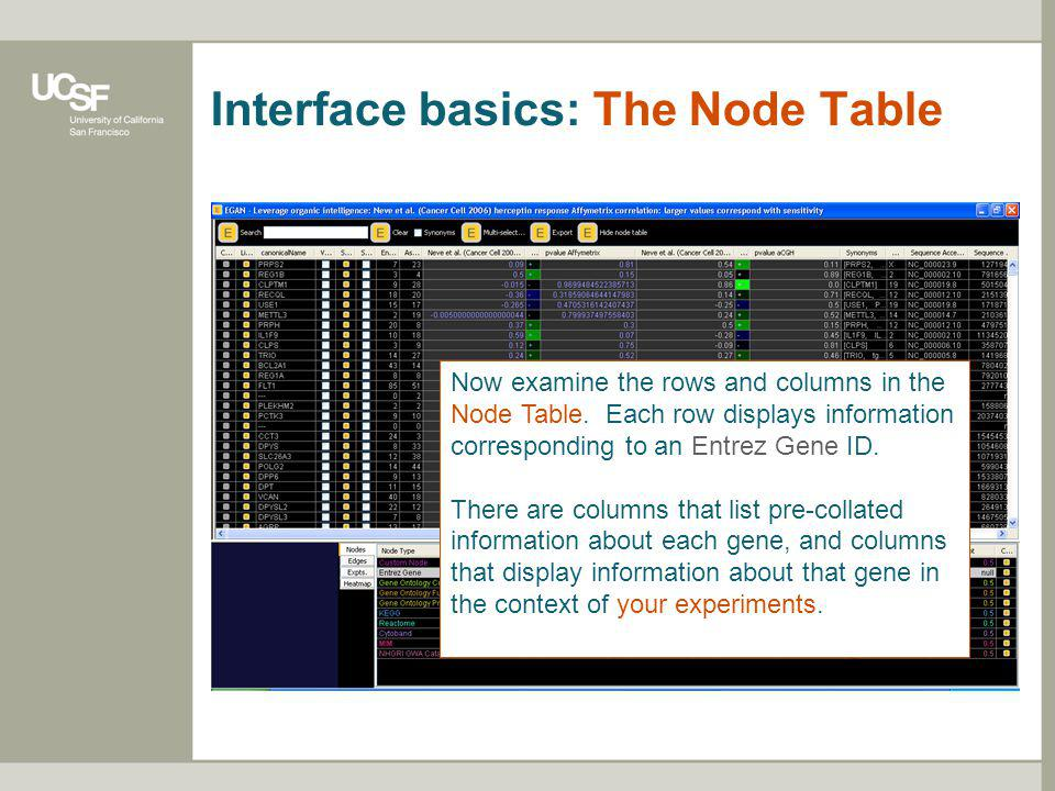 Interface basics: The Node Table Now examine the rows and columns in the Node Table. Each row displays information corresponding to an Entrez Gene ID.