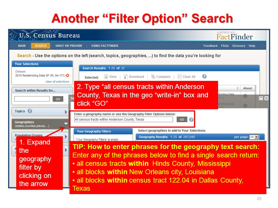 25 1. Expand the geography filter by clicking on the arrow 2.