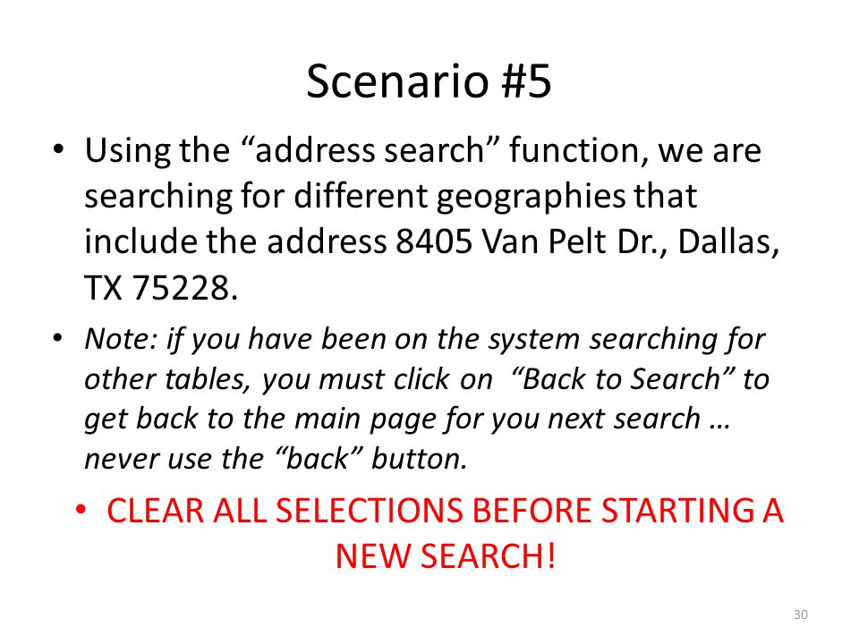 Scenario #5 Using the address search function, we are searching for different geographies that include the address 8405 Van Pelt Dr., Dallas, TX 75228.