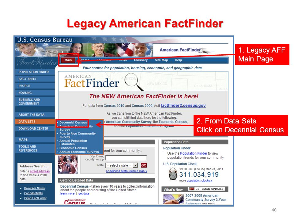 46 Legacy American FactFinder 1. Legacy AFF Main Page 2. From Data Sets Click on Decennial Census