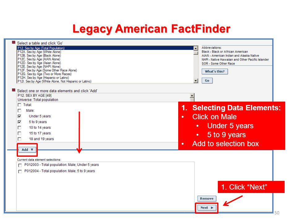 50 Legacy American FactFinder 1.Selecting Data Elements: Click on Male Under 5 years 5 to 9 years Add to selection box 1. Click Next